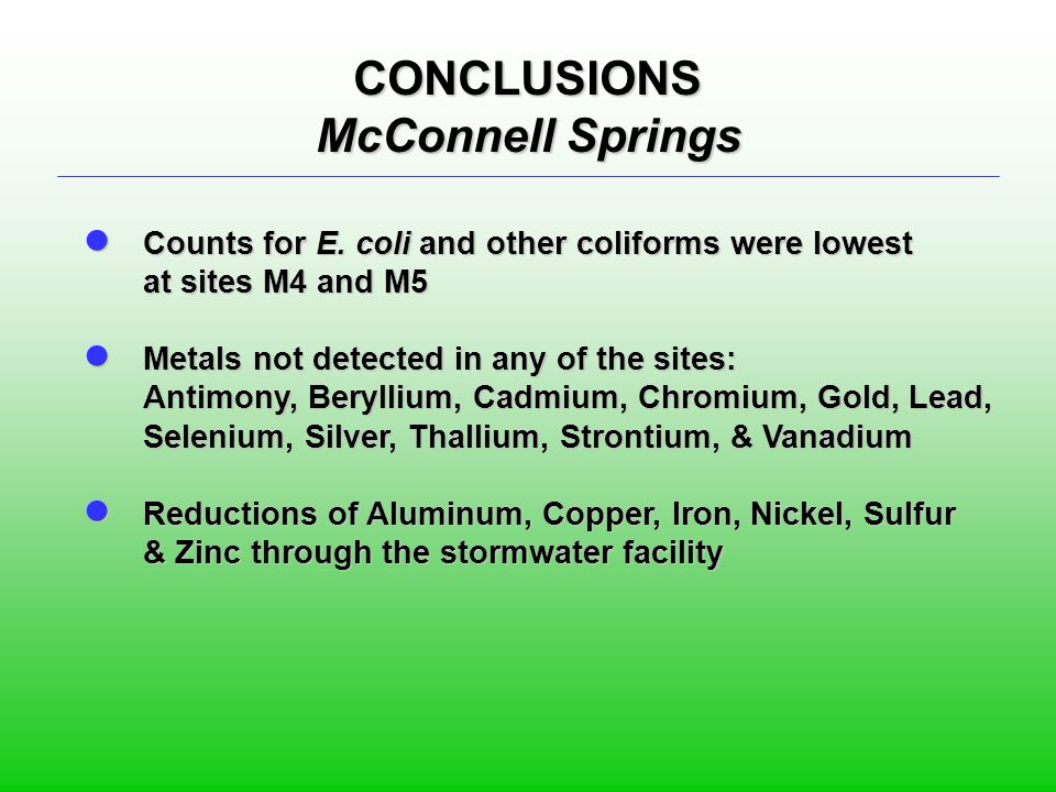 CONCLUSIONS McConnell Springs