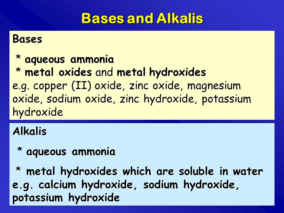 Bases and Alkalis Bases