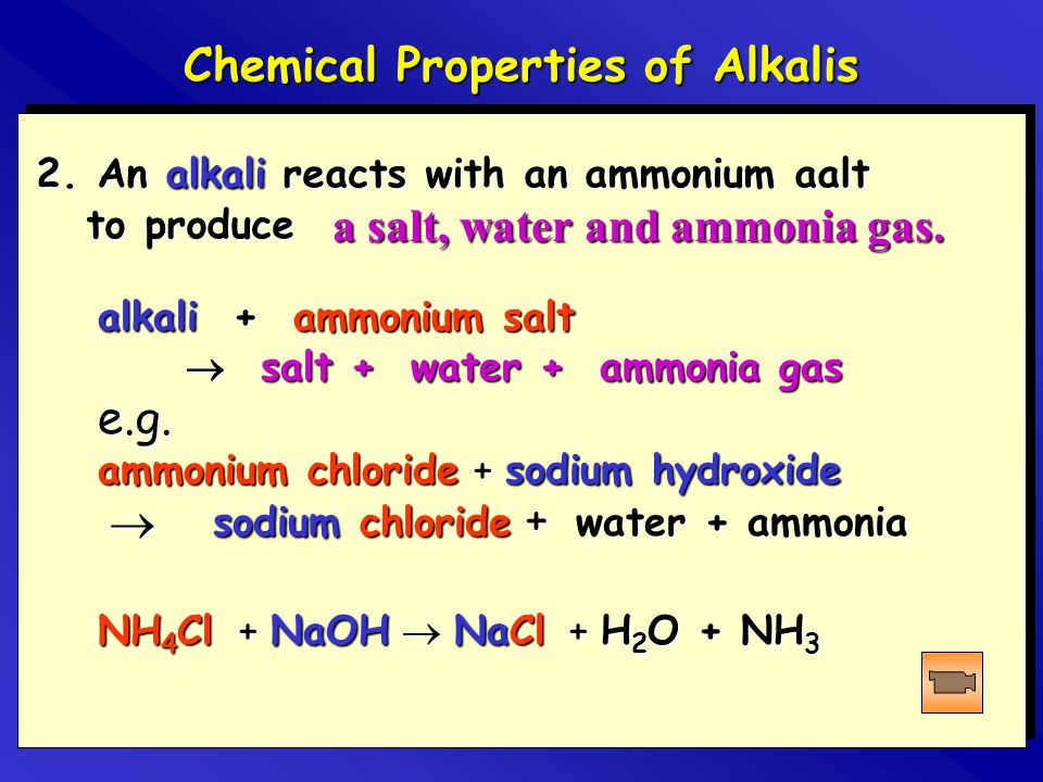 Chemical Properties of Alkalis