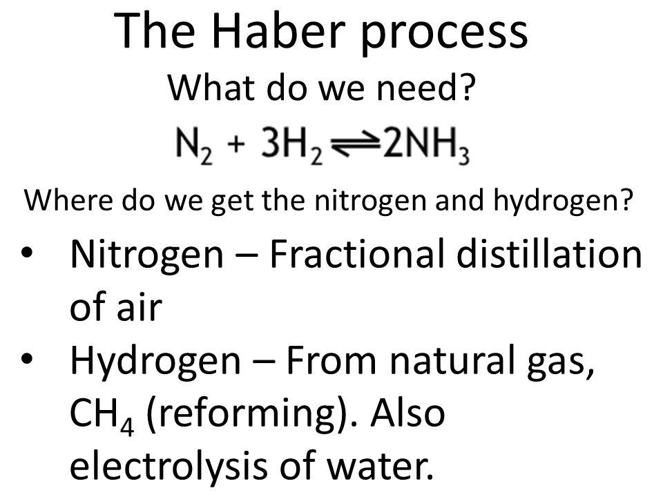 The Haber process What do we need