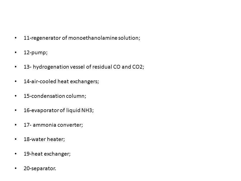 11-regenerator of monoethanolamine solution;