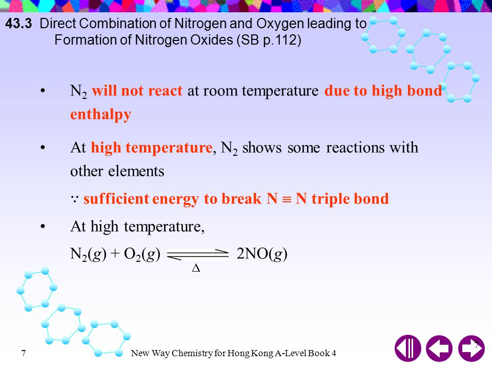 N2 will not react at room temperature due to high bond enthalpy