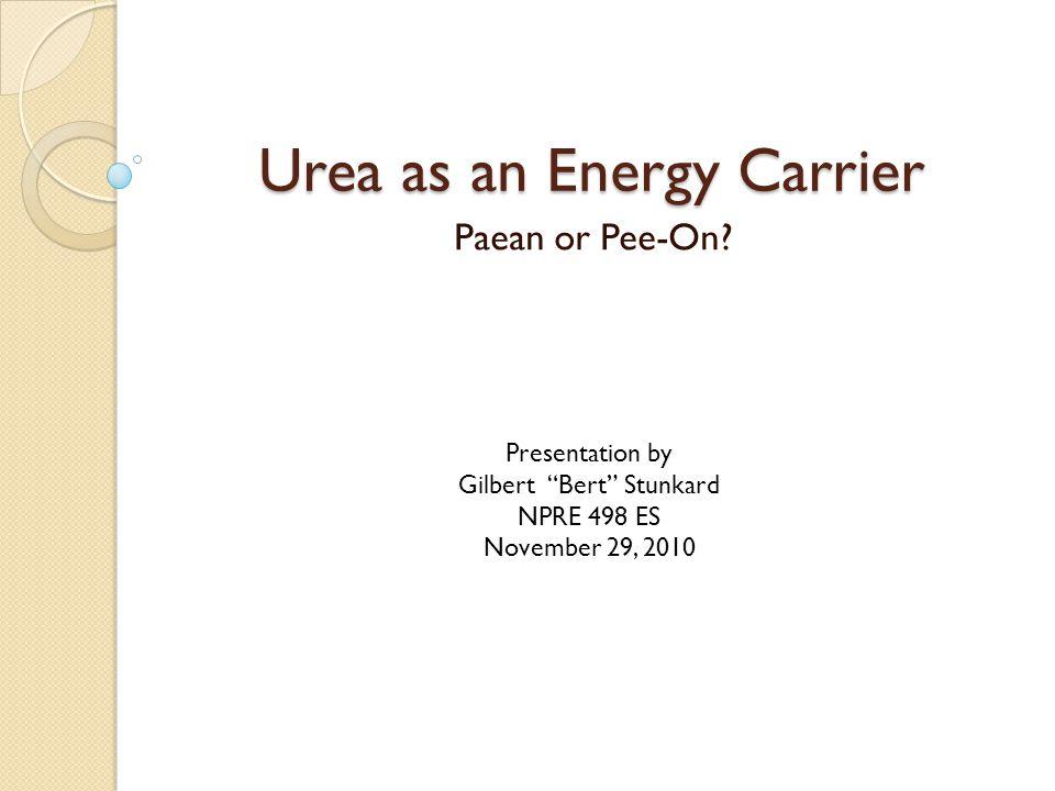 Urea as an Energy Carrier