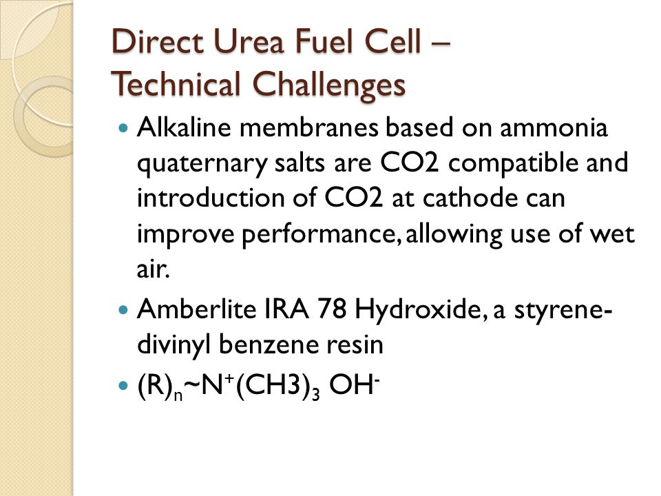 Direct Urea Fuel Cell – Technical Challenges