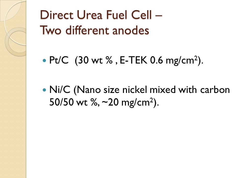 Direct Urea Fuel Cell – Two different anodes