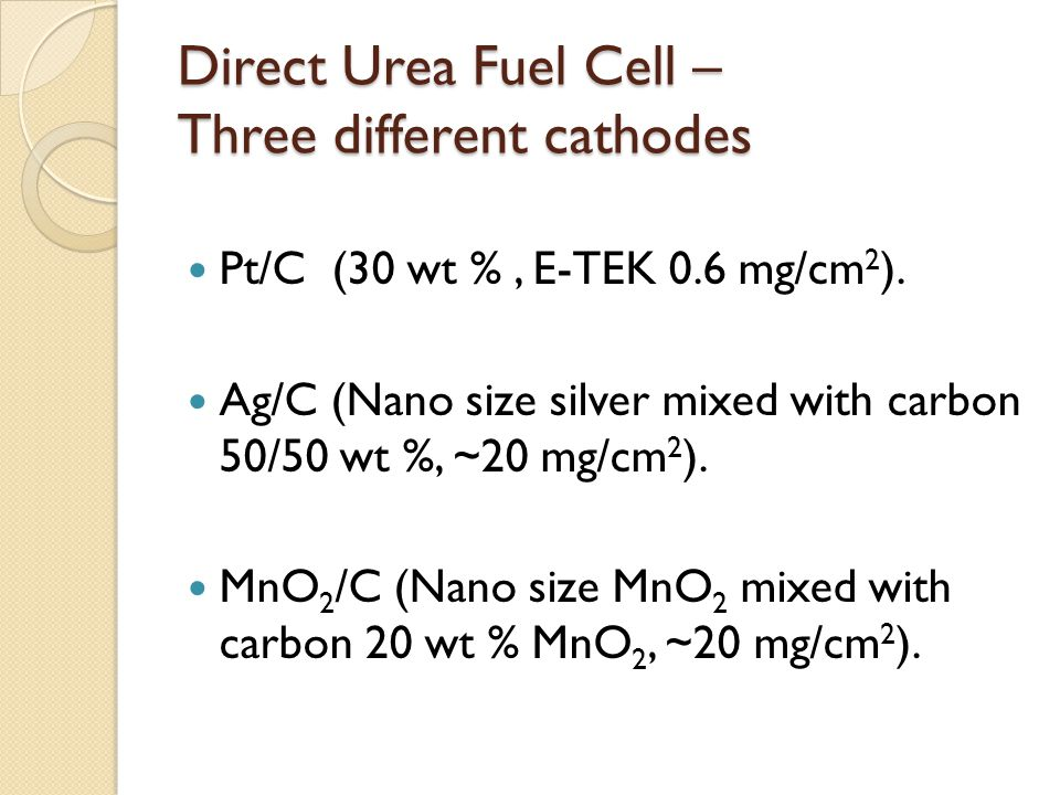 Direct Urea Fuel Cell – Three different cathodes