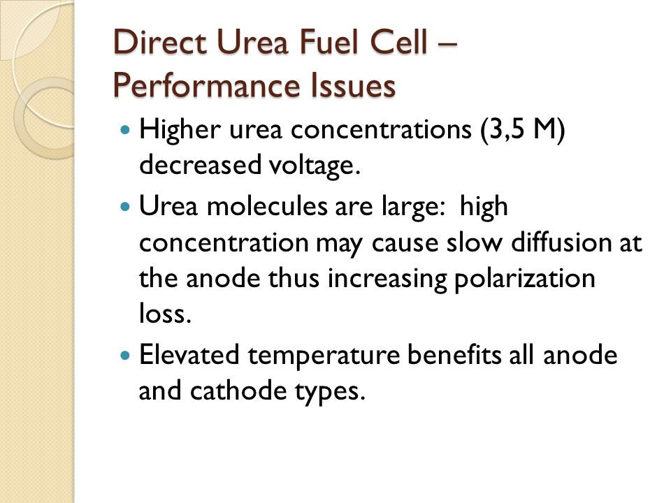 Direct Urea Fuel Cell – Performance Issues