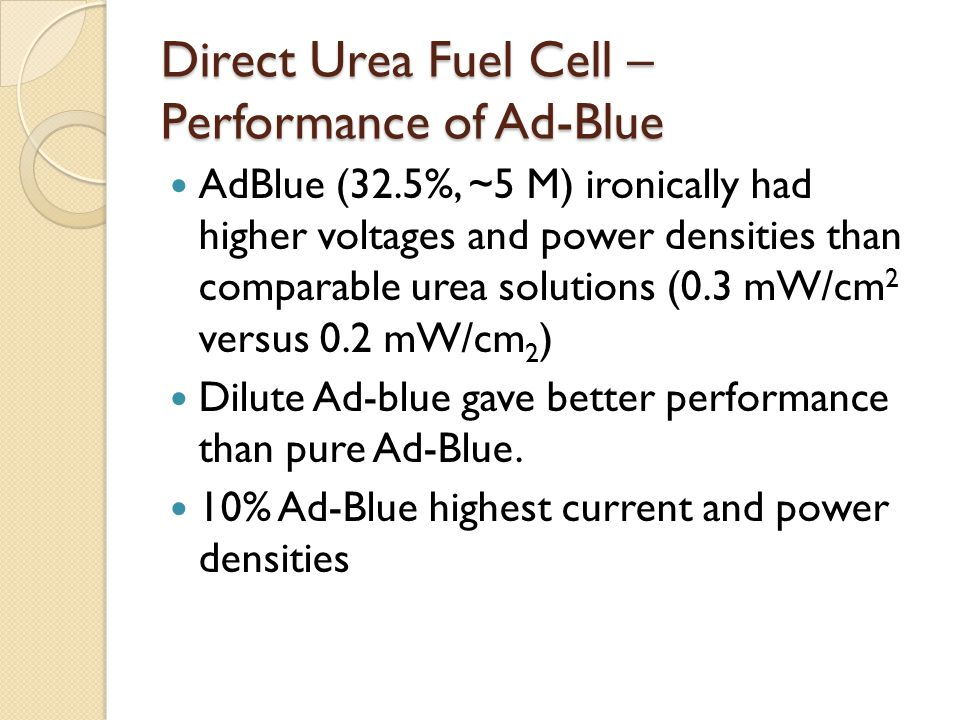 Direct Urea Fuel Cell – Performance of Ad-Blue
