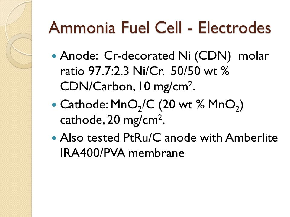 Ammonia Fuel Cell - Electrodes