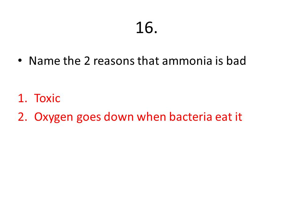 16. Name the 2 reasons that ammonia is bad Toxic