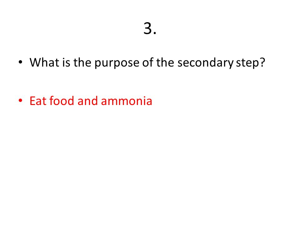 3. What is the purpose of the secondary step Eat food and ammonia