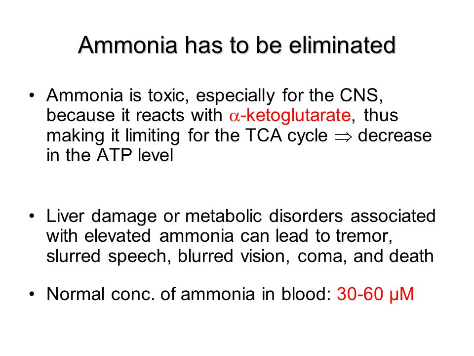 Ammonia has to be eliminated