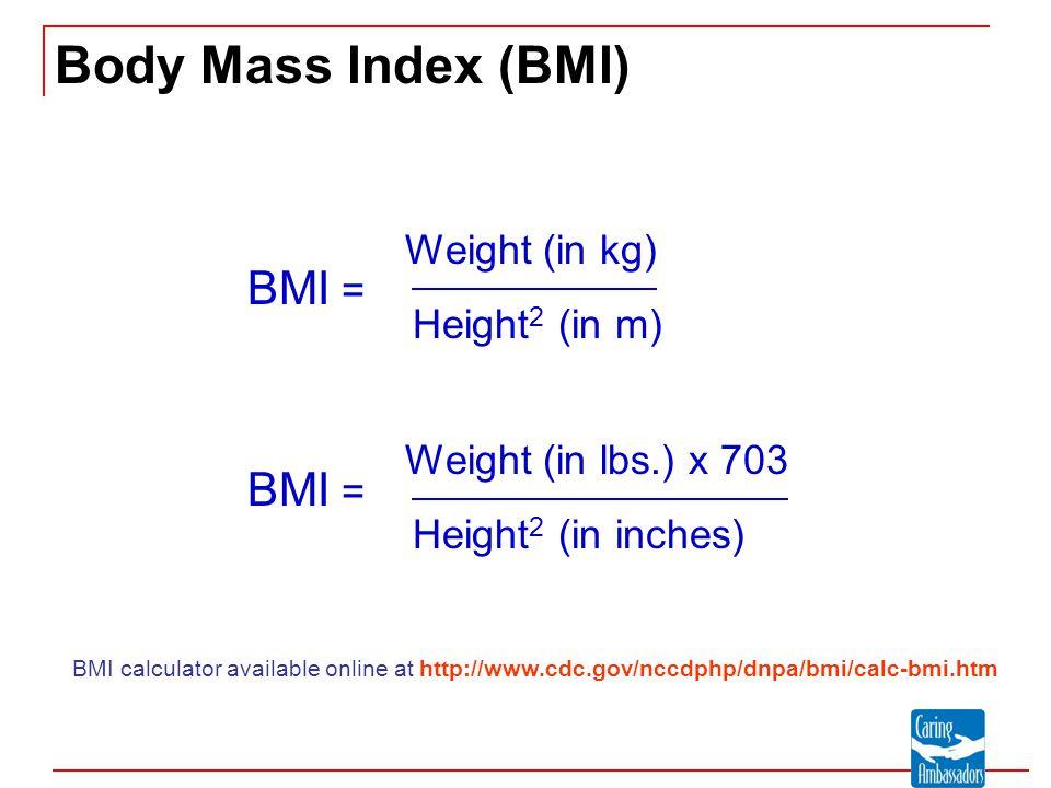 Body Mass Index (BMI) BMI = BMI = Weight (in kg) Height2 (in m)