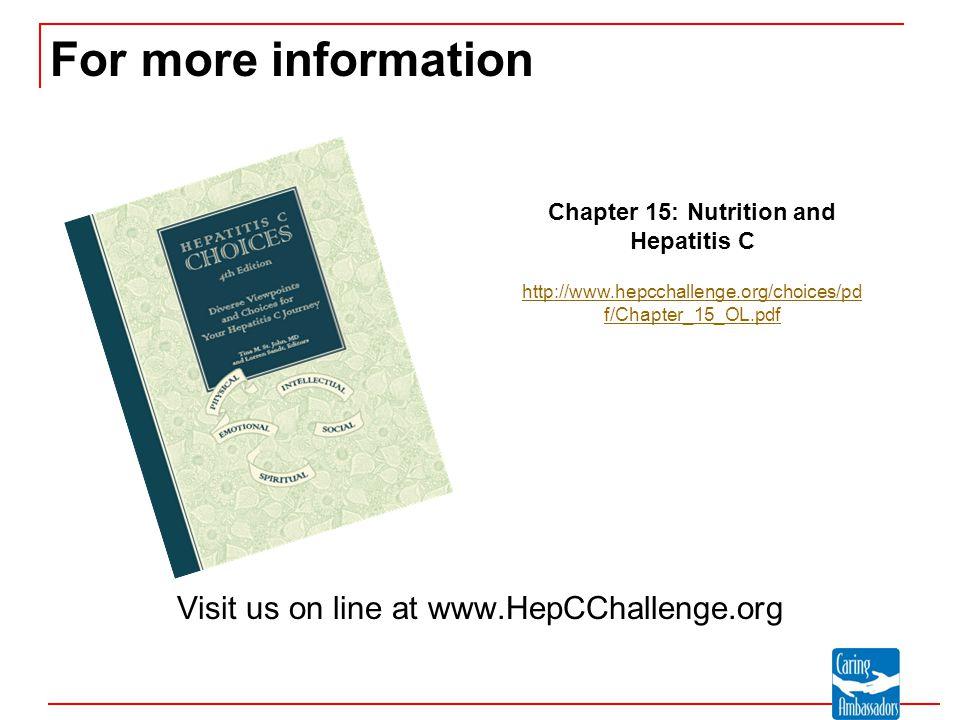 For more information Visit us on line at www.HepCChallenge.org