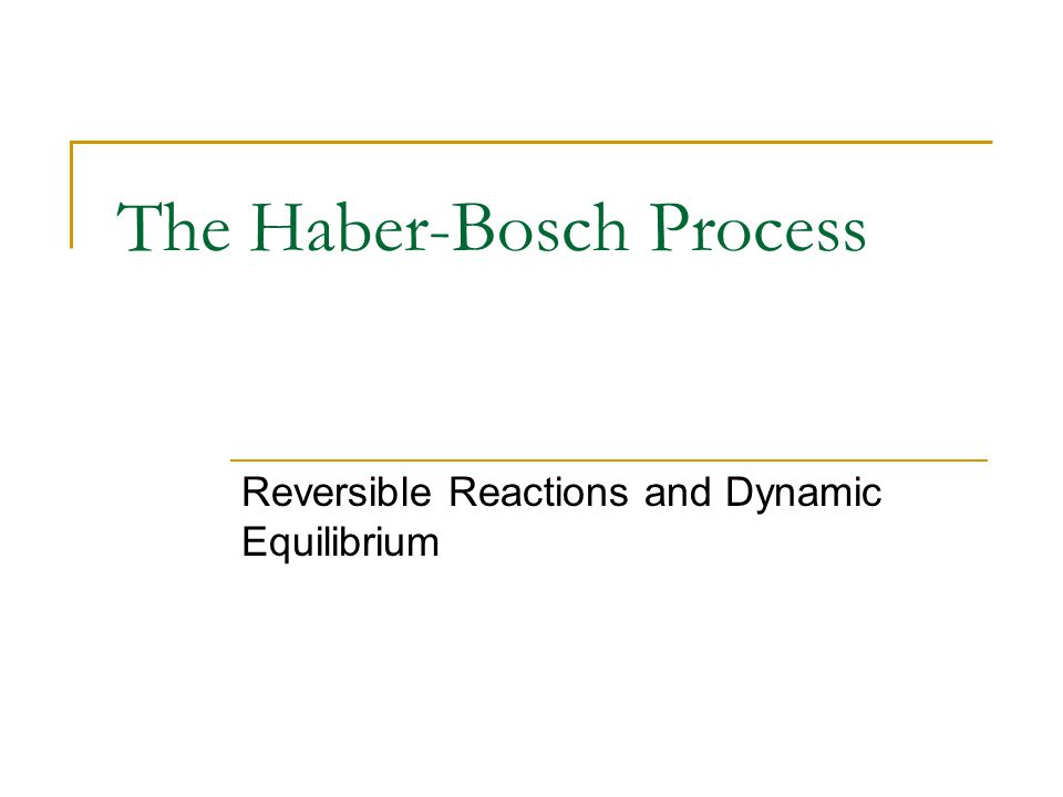 The Haber-Bosch Process