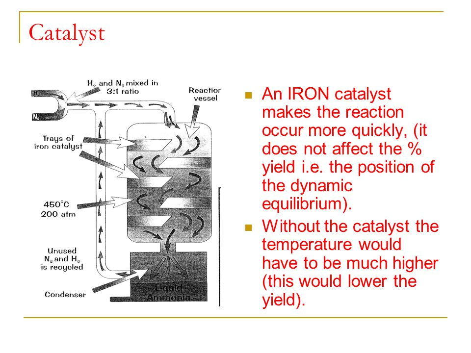 Catalyst An IRON catalyst makes the reaction occur more quickly, (it does not affect the % yield i.e. the position of the dynamic equilibrium).