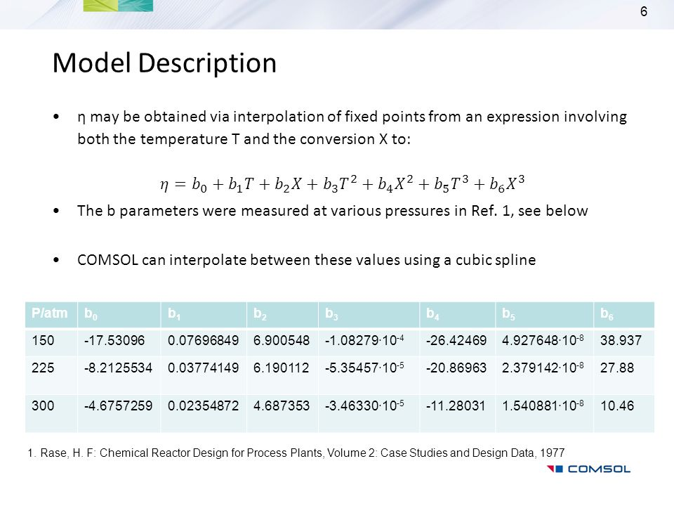 Model Description η may be obtained via interpolation of fixed points from an expression involving both the temperature T and the conversion X to:
