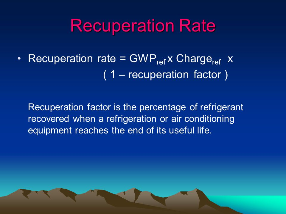 Recuperation Rate Recuperation rate = GWPref x Chargeref x