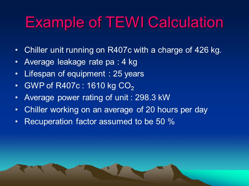 Example of TEWI Calculation