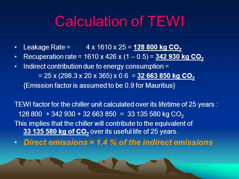 Calculation of TEWI Direct emissions = 1.4 % of the indirect emissions