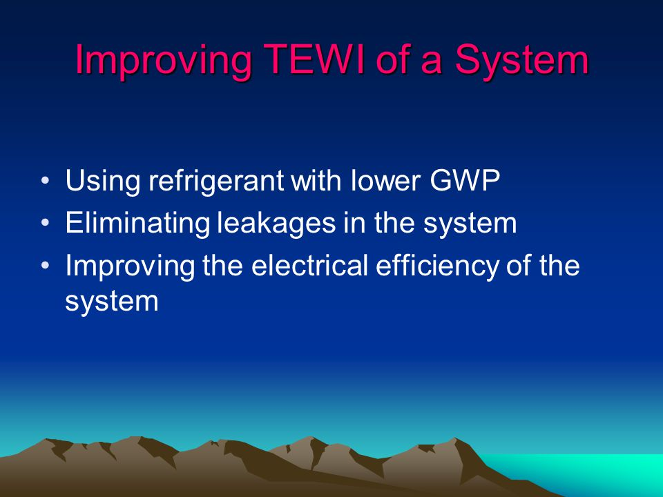 Improving TEWI of a System