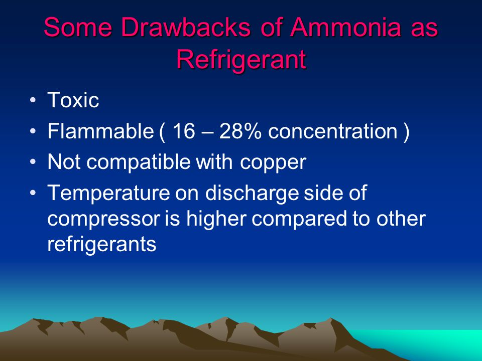 Some Drawbacks of Ammonia as Refrigerant