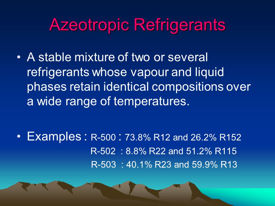 Azeotropic Refrigerants