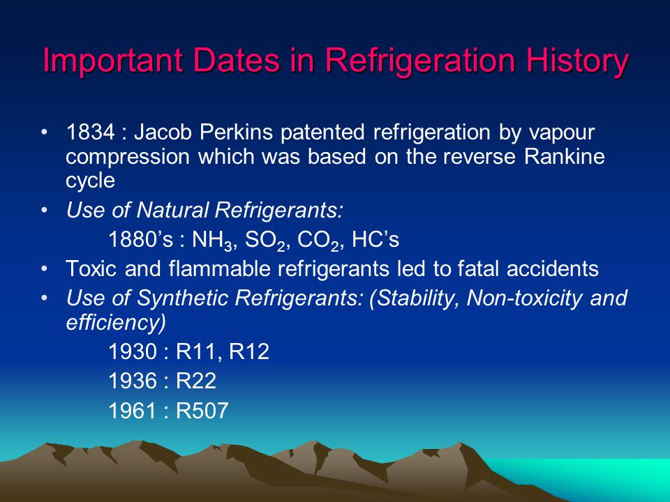 Important Dates in Refrigeration History