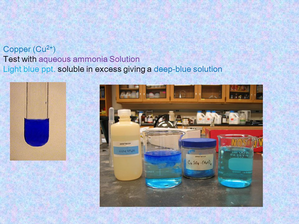Copper (Cu2+) Test with aqueous ammonia Solution. Light blue ppt.