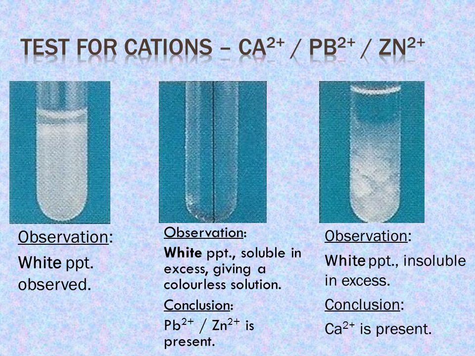 Test for Cations – Ca2+ / Pb2+ / Zn2+