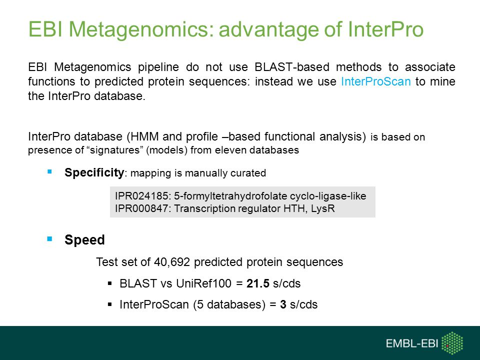 EBI Metagenomics: advantage of InterPro