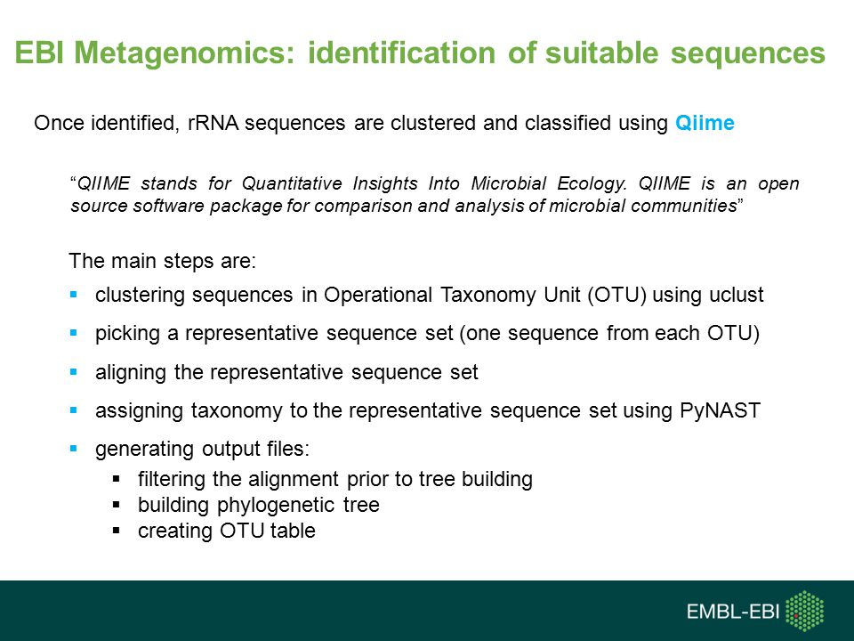 EBI Metagenomics: identification of suitable sequences