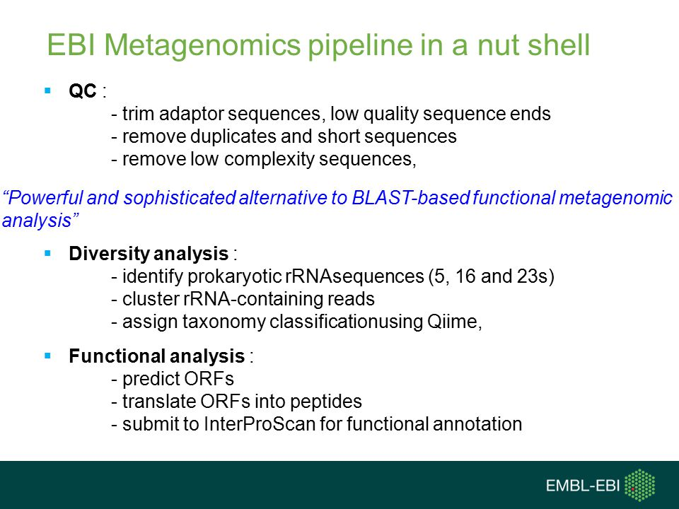 EBI Metagenomics pipeline in a nut shell