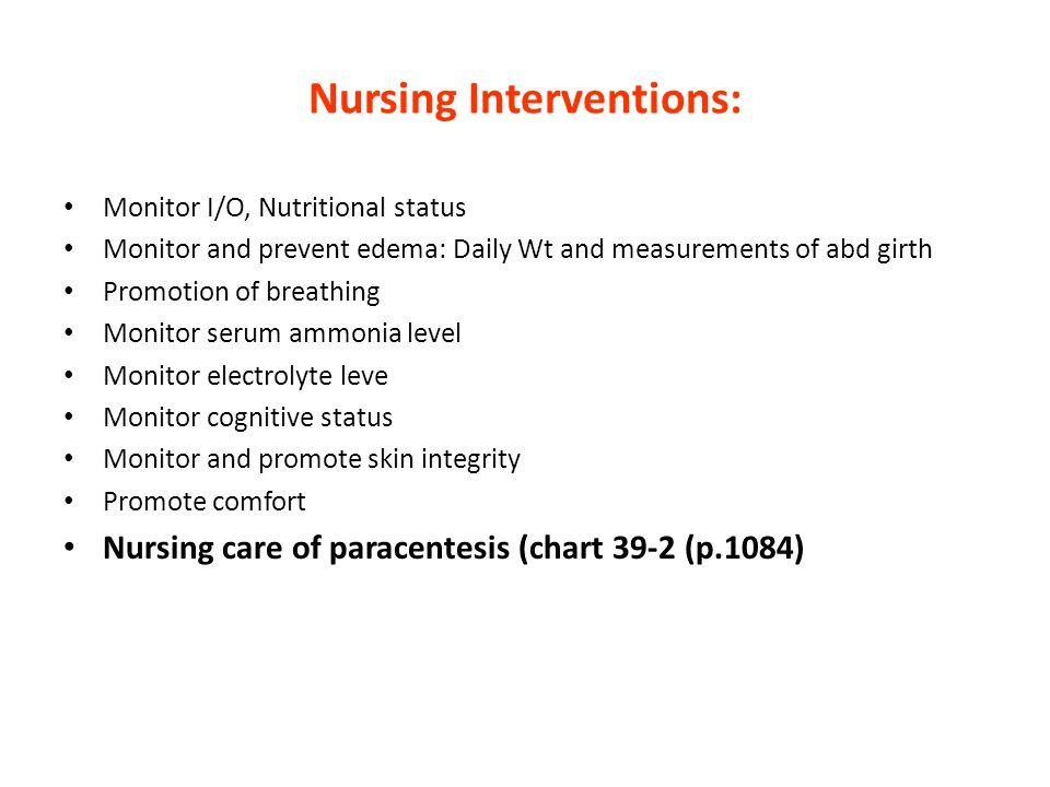 Nursing Interventions: