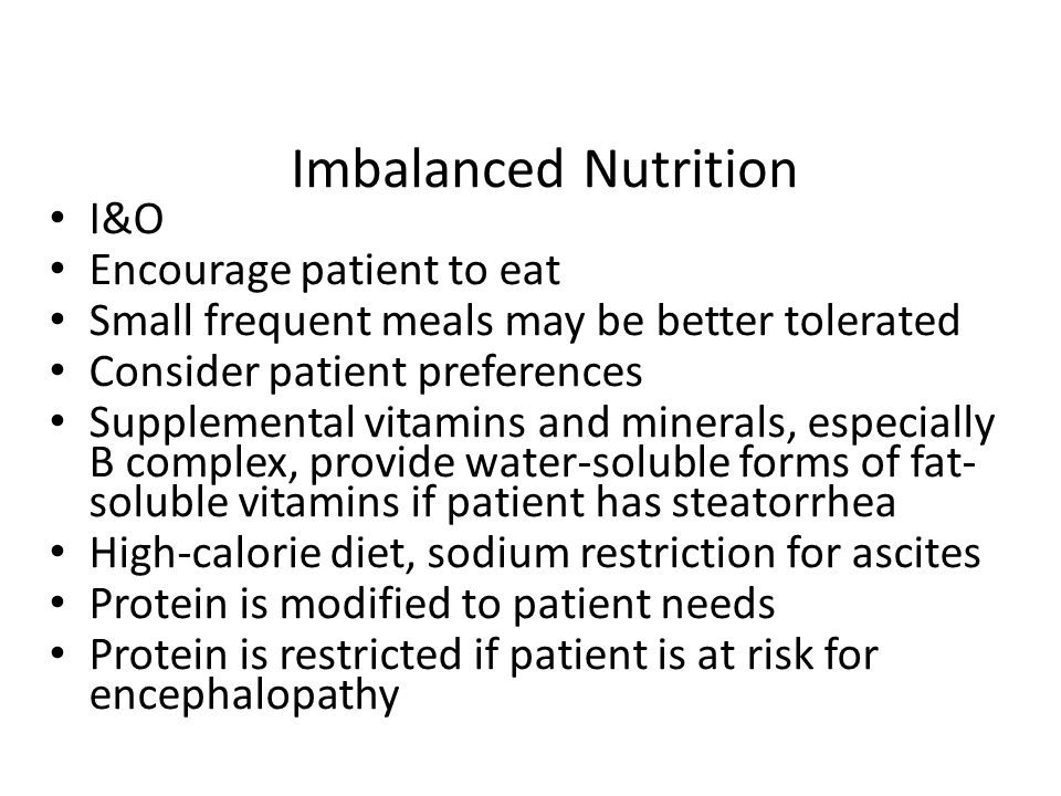 Imbalanced Nutrition I&O Encourage patient to eat