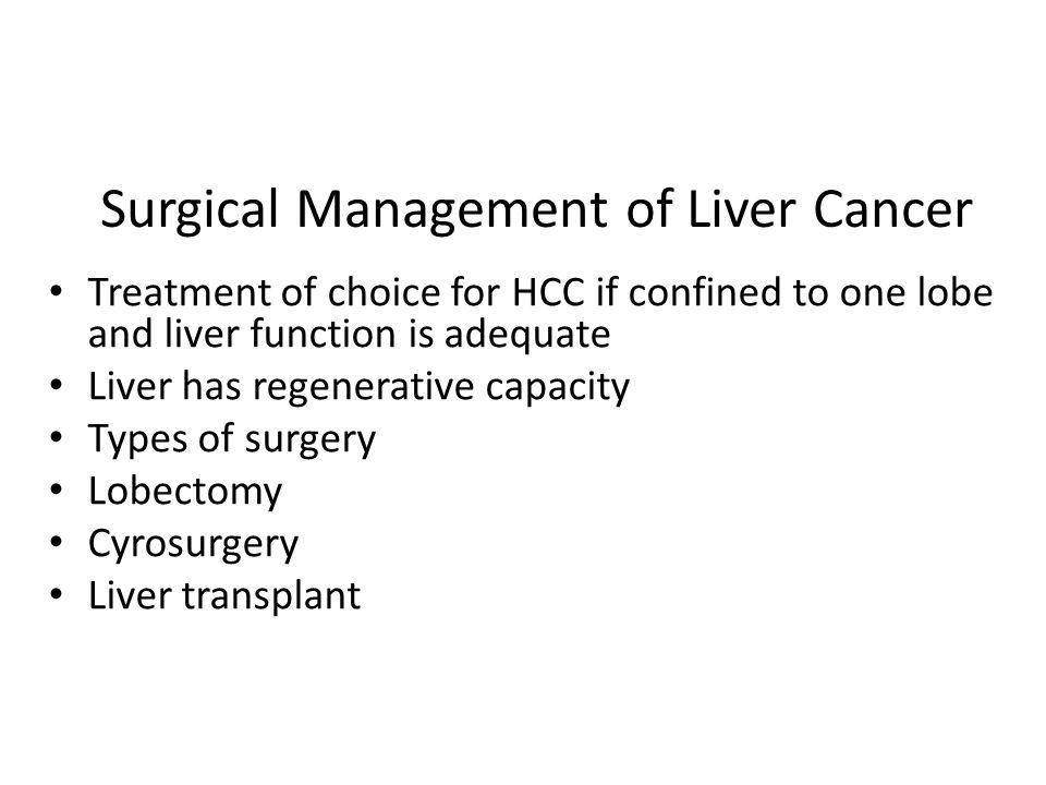 Surgical Management of Liver Cancer