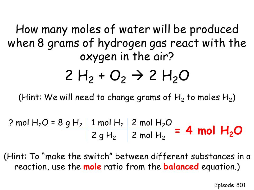 (Hint: We will need to change grams of H2 to moles H2)