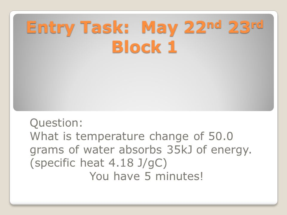 Entry Task: May 22nd 23rd Block 1