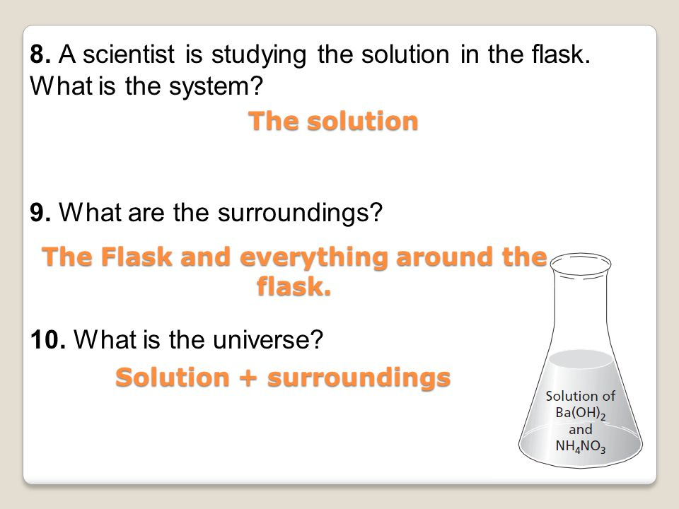 The Flask and everything around the flask. Solution + surroundings