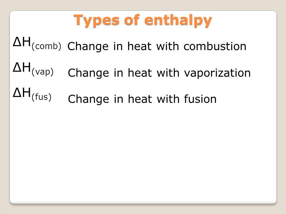 Types of enthalpy ∆H(comb) ∆H(vap) ∆H(fus)