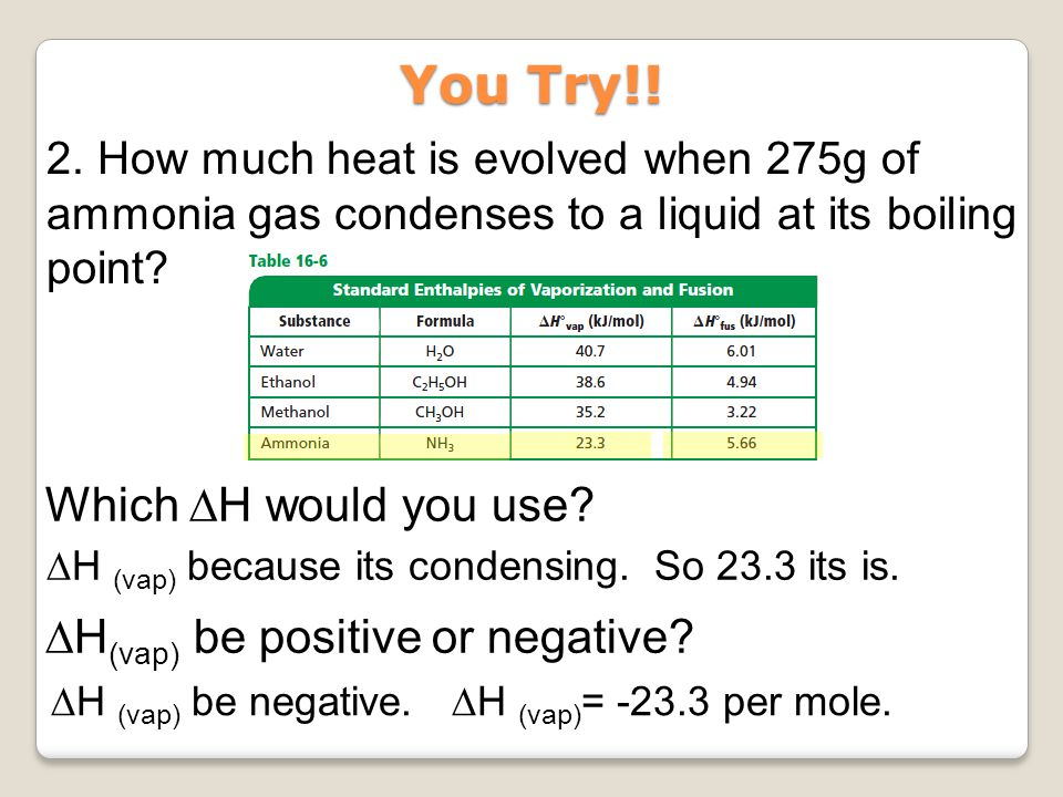 You Try!! Which ∆H would you use ∆H(vap) be positive or negative