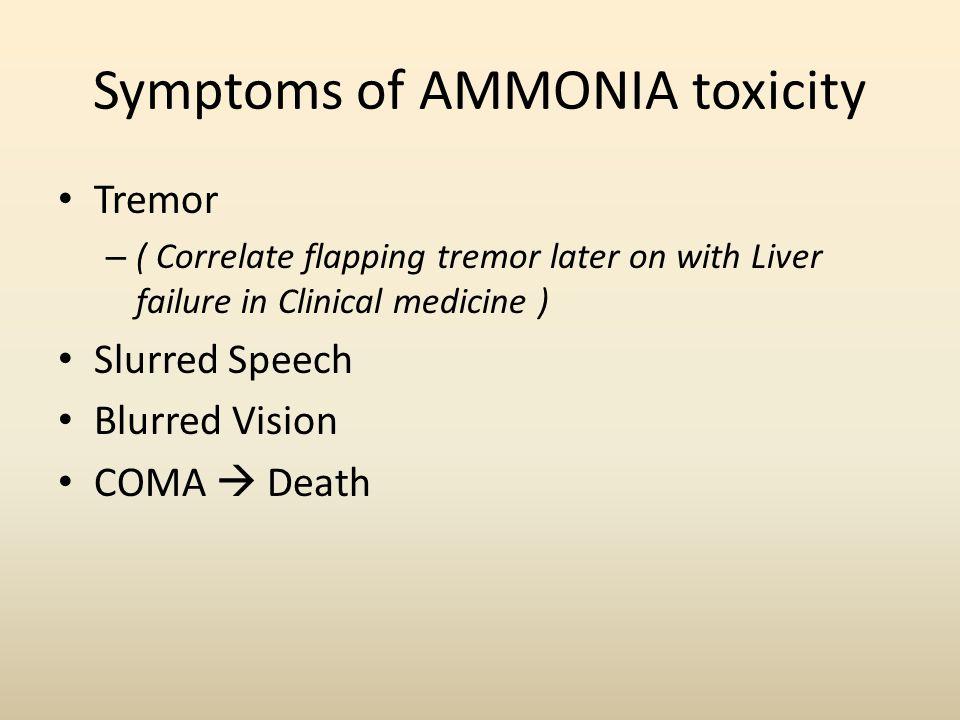 Symptoms of AMMONIA toxicity