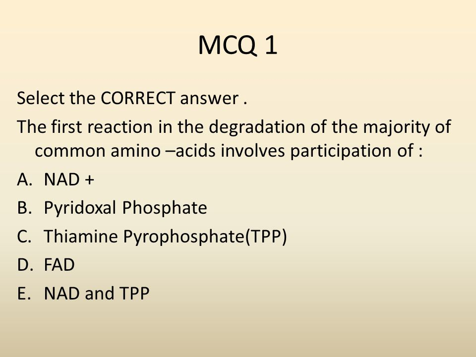 MCQ 1 Select the CORRECT answer .