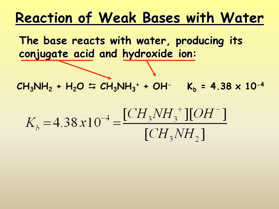 Reaction of Weak Bases with Water