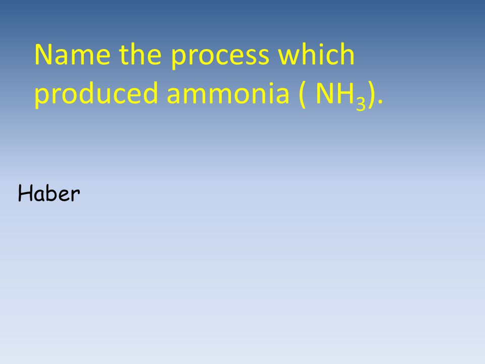 Name the process which produced ammonia ( NH3).