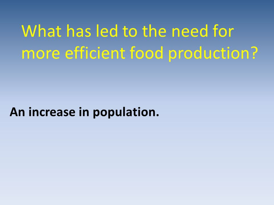 What has led to the need for more efficient food production