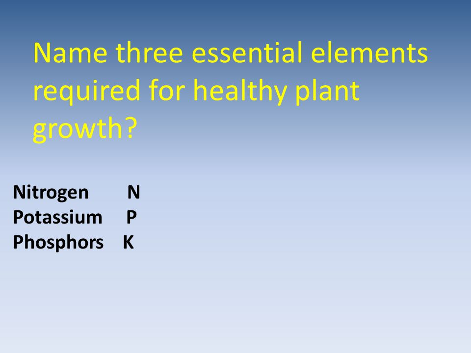 Name three essential elements required for healthy plant growth