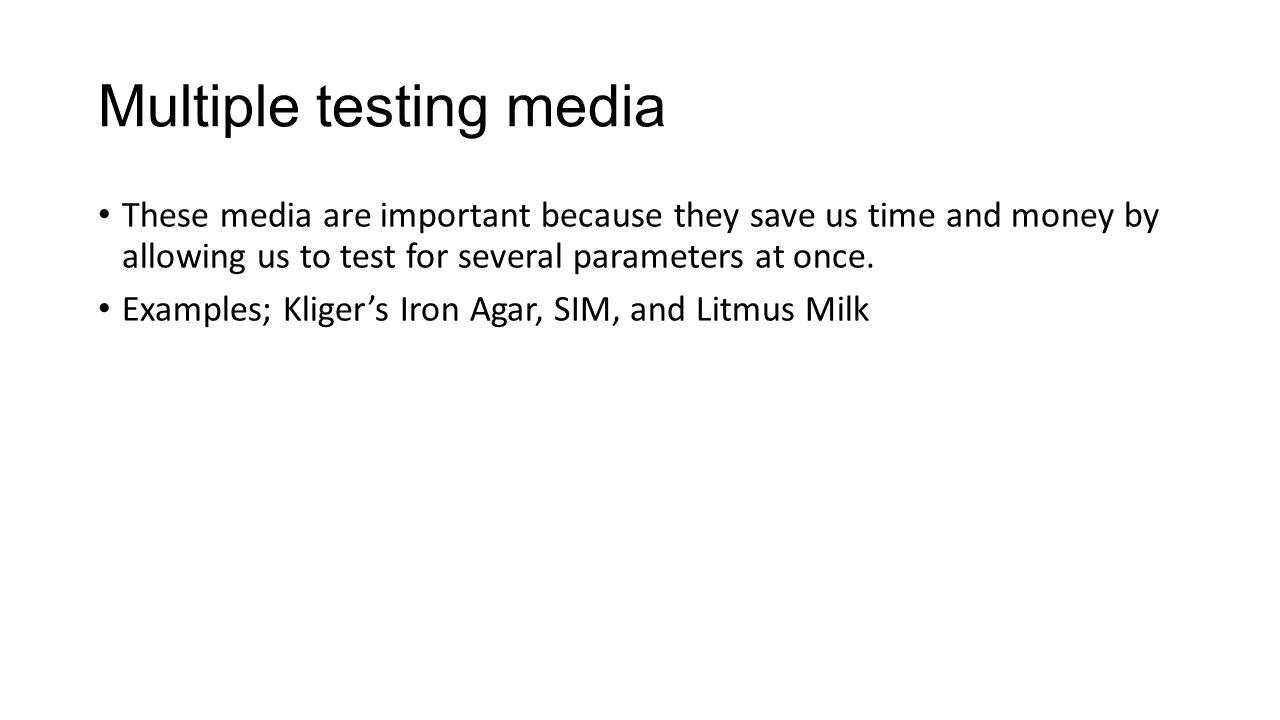 Multiple testing media