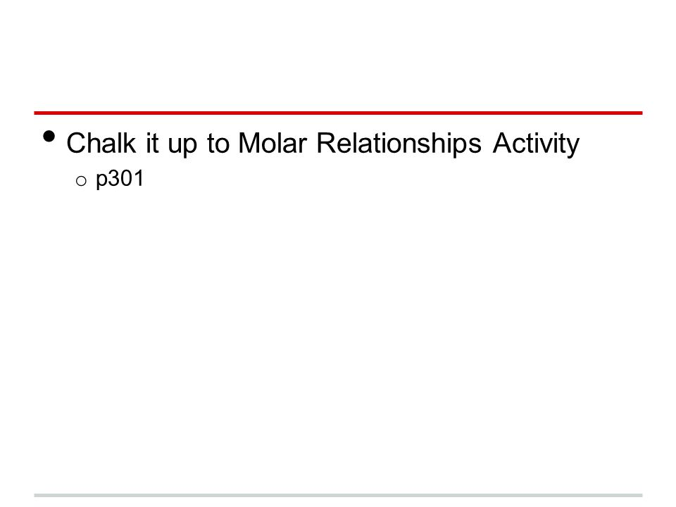Chalk it up to Molar Relationships Activity