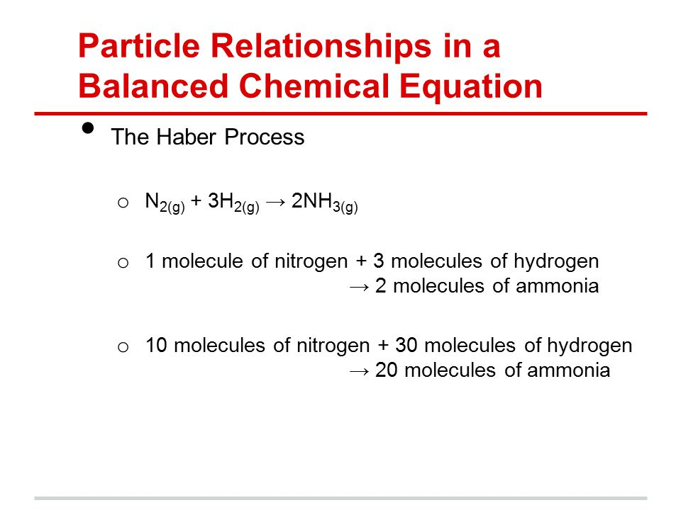 Particle Relationships in a Balanced Chemical Equation